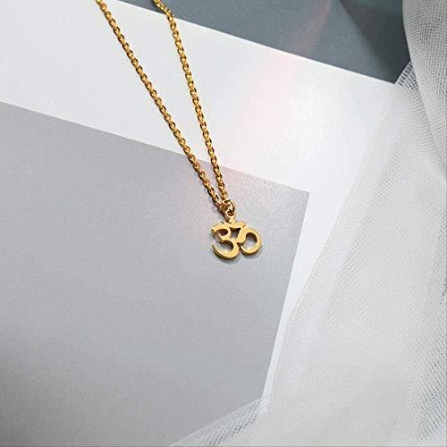 DUEJJH Co.,ltd Collar Buda Lotus Mala Yoga Chakra Om Collares Pendientes Cadena de Oro Om Charm Collar Om Símbolo Collar Amante