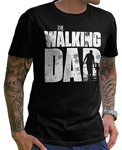 Stylotex Lustiges Herren Männer T-Shirt Basic   The Walking Dad   Geschenk für werdende Papas, Größe:S, Farbe:schwarz (4100)