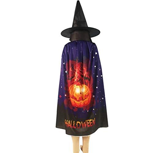 Capa de Halloween de Lightcolor + sombrero, accesorio de Halloween, unisex, para cosplay, disfraz, broma, bruja, disfraz de Halloween, naranja