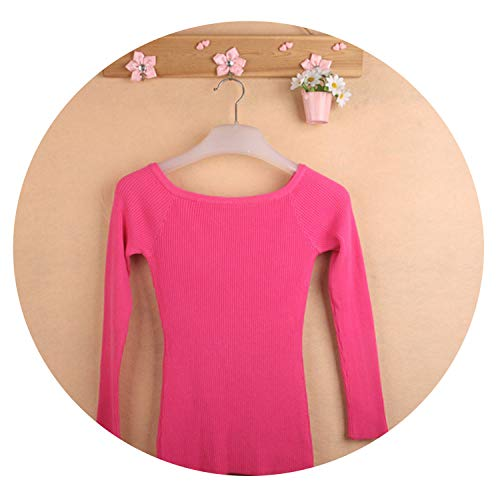 sensitives Autumn and Winter Basic Women Sweater Slit Neckline Strapless Sweater Thickening Sweater,Rose Red,One Size