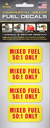 Mixed Fuel Stickers 50:1 Premix Fuel Sticker (4 Pack) 2'x1' Decals | Premixed Fuel | 2 Cycle | Chainsaw, Trimmer, Blower, Edger | Commercial Grade | Mixed Fuel Only…