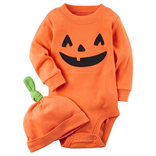 2 Stuks Halloween Pompoen Kostuums voor Unisex Baby's Kostuum Halloween Borduurwerk Lange Mouwen Romper + Hoed