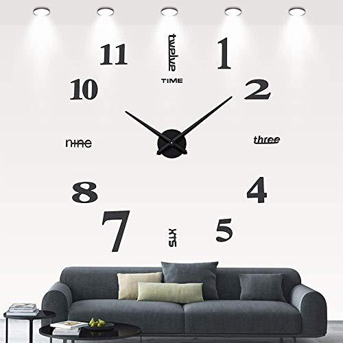 DIY 3D Wanduhren Modern Design Acryl Wanduhren Wandtattoo Dekoration fürs Wohnzimmer Kinderzimmer (Schwarz)