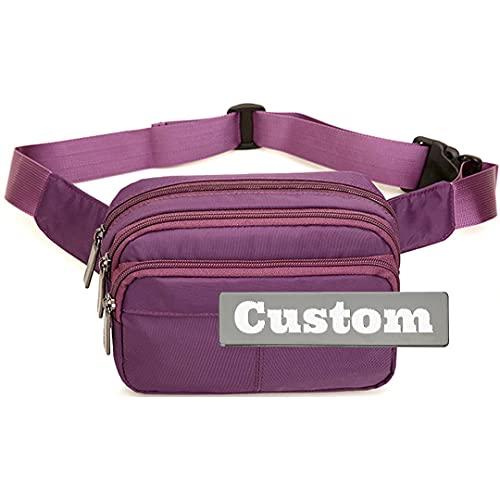Nombre Personalizado Moda para Hombres Mujeres Fanny Pack Senderismo Bolso al Aire Libre Mujer Cintura para Viajar Paquete de Fanny (Color : Purple, Size : One Size)