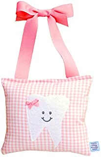 Girl's Tooth Fairy Pillow in Baby Pink Gingham Print Cotton