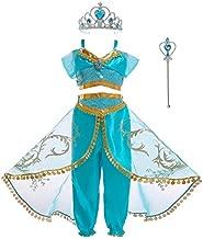 Soyoekbt Girls Princess Jasmine Costume Halloween Party Dress Up for Kids 5-6Years 120 Blue