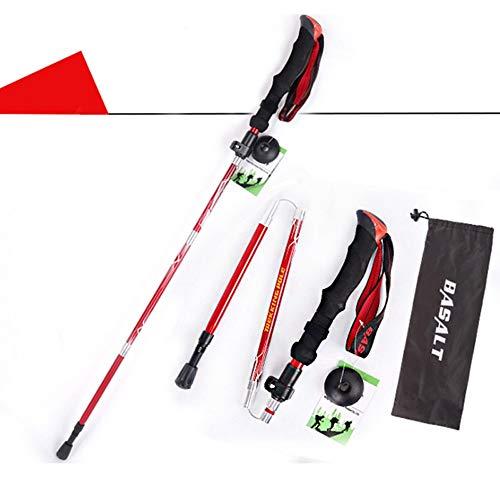 HXXBY Postes de Trekking, Postes de Trekking para Hombres y Mujeres, Polos de Acero de tungsteno Plegables y portátiles, Mango cómodo EVA (Color : Red Short)