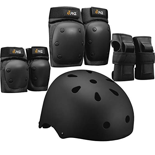 PHZ. Child/Adults Bike Helmet Protection Gear Set for Multi Sports Scooter, Skateboarding, Biking, Roller Skating, Protection for Beginner to Advanced, Helmet, Knee and Elbow Pads with Wrist Guards