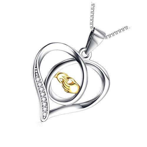 Collar de plata de ley 925 con diseño de corazón para cualquier edad