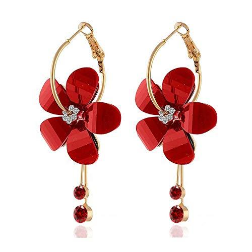 Elegant Geometric Round Red Color Sweet Drop Earrings for Women Pearl Flower Cherry Wedding Earrings Tassel Brincos Jewelry 2020-M
