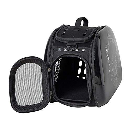 WEAO Mochila con Diseño De Leopardo, Bolso Impermeable for Gatos Y Perros Pequeños, Mochila Portátil for Mascotas, Diseñada for Viajes, Material De ABS, Negro