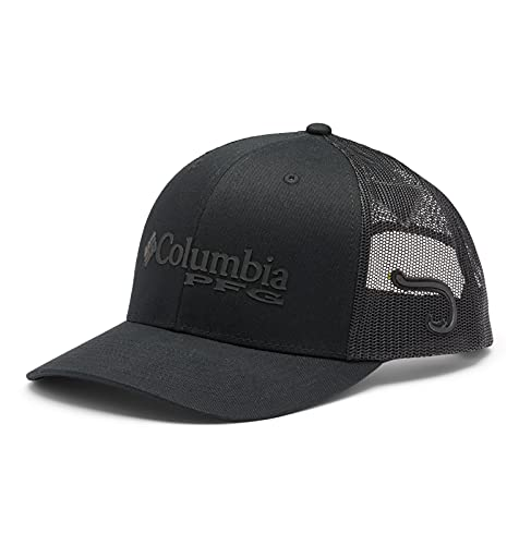 Columbia Unisex PFG Mesh Snap Back Ball Cap, Black, Hook