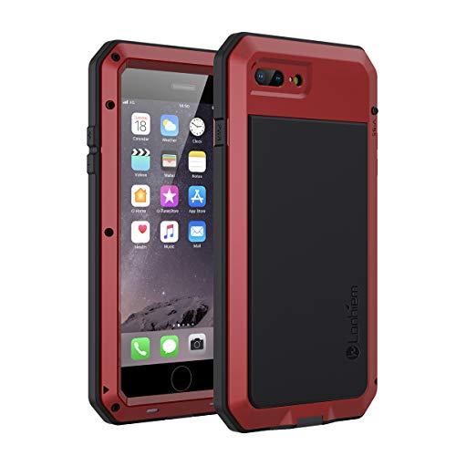 Lanhiem Funda iPhone 7 Plus / 8 Plus, [Rugged Armour] Antigolpes Metal Estuche Protectora, Absorción de Choque y Duradera Fundas con Protector de Pantalla Vidrio Carcasa para iPhone 7 8 Plus, Rojo