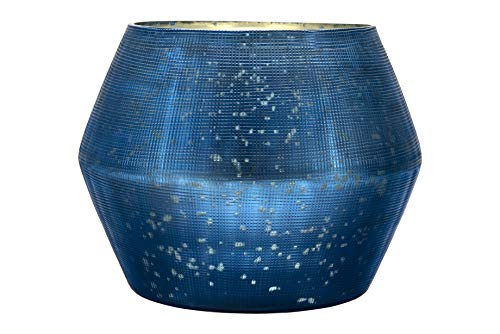 Creative Co-op Large Embossed Blue Mercury Glass Votive Holder