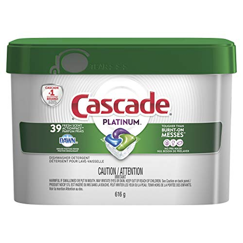 Cascade Platinum ActionPacs Dishwasher Detergent, Fresh Scent, 39 count, packaging may vary