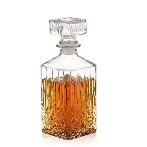 MIUE Decantador De Vino, Garrafas Plomo De Vidrio Cuadrado Botella De Vino Decantador De Whisky Contenedor De Alcohol Vertedor Jarra De Vino, 1000ml