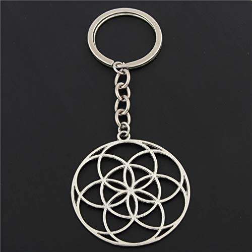 MENGYUE 1Pc Seed Of Life Charms Flower Of Life Keychains For Women Bag Charms Geometric Charms With Chain Diy Jewelry