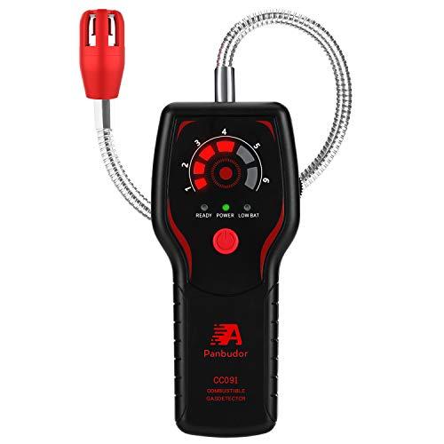 Detector de Gas Natural,Detector de Fugas de Gas Propano,Alarma de Gas Metano/Butano/LPG/LNG/ Ciudad, Sensor de Cuello Flexible de 12,6 Pulgadas,Sonido LED y Alarma (Negro)