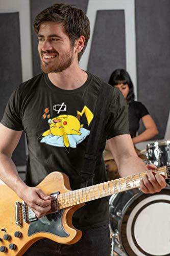 OKIWOKI T-Shirt Noir Pokémon parodique Pikachu : Batterie Off - ZZZZ (Parodie Pokémon)