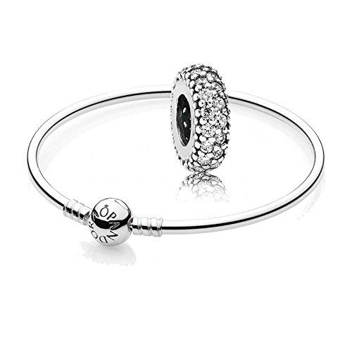 Original Pandora Geschenkset - 1 Silber Armreif 590713-17 + 1 Silber Zwischenelement 791359CZ Pavé-Inspiration