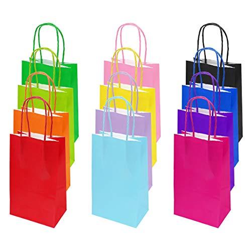 flintronic Papiertüten aus Kraftpapier, 12 Stück Papiertüten mit Henkel, Geschenkverpackung, Tüten Eschenktüten, Gastgeschenke Tüten, Mitgebseltüten, Geschenktüten Set - Mehrere Farben (21*13*8CM)