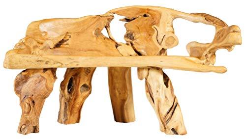 Windalf Lounge zitbank met hoge leuning FAIRYLOVE 137 cm vintage houten bank uniek handwerk van wortelhout