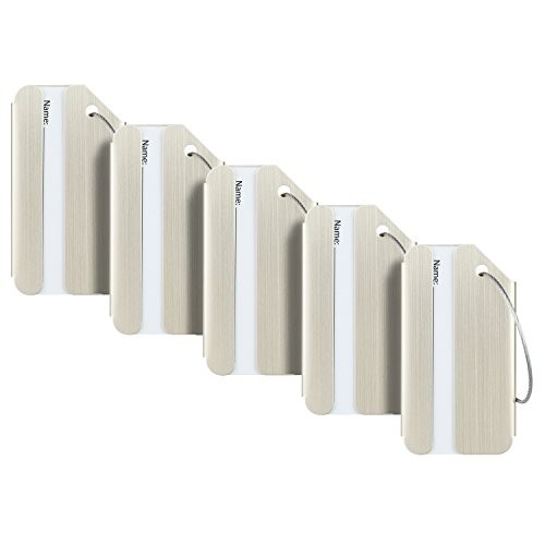 Travelambo Luggage Tags & Bag Tags Stainless Steel Aluminum Various Colors (champagn Gold 5 pcs Set)
