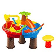 FILOL Kids Sand and Water Table - Summer Beach Outdoor Indoor Beach Play Activity Table Sandbox with 21 Pcs Accessories for Kids, Toddlers and Children