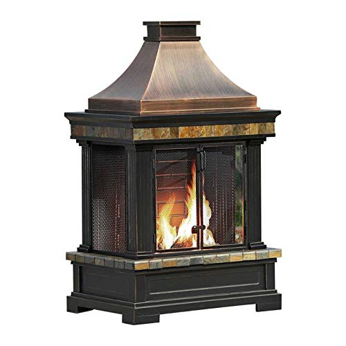 Buy Bargain Outdoor Premium Fireplace Steel Wood Burning Weather Resistant Fireplace with Log Grate ...