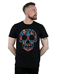 Disney Hombre Coco Skull Pattern Camiseta Small Negro