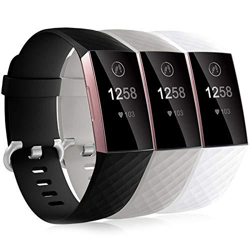 Dirrelo 3 Pack Armbänder Kompatibel mit Fitbit Charge 3/Fitbit Charge 4/Charge 3 SE Armband für Damen und Herren, Sport Verstellbares Ersatzarmband Silikon Uhrenarmband, Schwarz+Weiß+Grau L