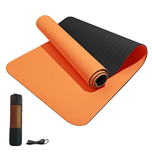 Yoga Mat Non Slip TPE Yoga Mats for Women Men Thickness 1/3 inch Thick Workout Mat with Bags and Carriers,Thick Exercise Mats for home, Pilates and Floor Exercises