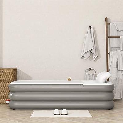 Solomone Cavalli Inflatable Bath Tub PVC Portable Foldable Adult Bathtub for Bathroom SPA, Hot and Ice Bath with Electric Air Pump