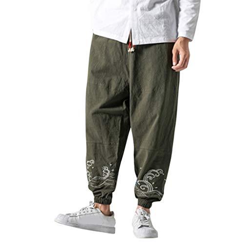Haremshose Männer Aladinhose New Style Moderne Baumwollhose Lange Stoffhose Casual Flachs Retro Hose für Herren Große, individuell bedruckte Hose
