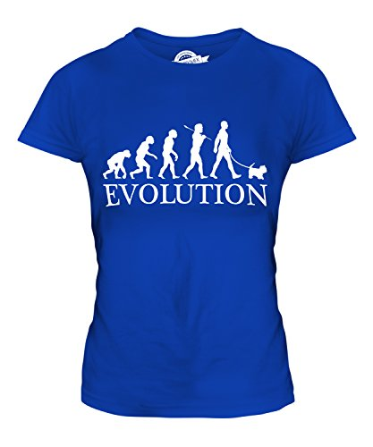 Candymix Malteser Evolution des Menschen Und Hund Damen T Shirt, Größe 2X-Large, Farbe Königsblau
