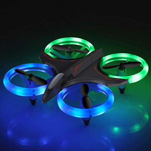 RC Drone, 2020 Upgraded Mini Drones with LED Lights RC Quadcopter Headless Mode 2.4GHz 4 Chanel 6 Axis Gyro Steady Hold Height Helicopter for Training