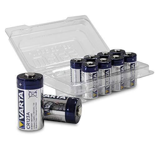 VARTA Varta CR123A - Pila de Litio CR123A de 3 V (Anteriormente Varta Professional Lithium CR123A) en Caja de 10 Unidades de Weiss - More Power + | Equivalente: CR123, CR123 A, CR17345, 6205
