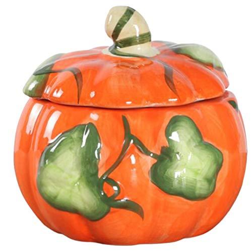 Hemoton Tazón de Dulces Bocadillo Tarro de Calabaza Decorativa Platos de Dulces Recipiente de Almacenamiento de Alimentos de Cerámica con Tapa Ornement de Halloween 15. 5X15. 5X14. 5Cm