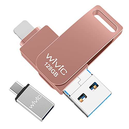 USB Flash Drive Photo Stick, WIVIC USB 3.0 Memory Stick for Photos, 128GB Photostick Thumb Drive Compatible with Phone/iPad/iOS/Android/Mac/PC (Pink)