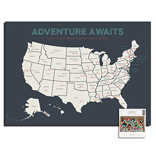Epic Adventure Maps The United States Push Pin Map 24' x 17' - Unframed Travel Map to Mark Your Travels Around The USA - Multicolored Pushpins Included - Great Travel Gift (Grey)