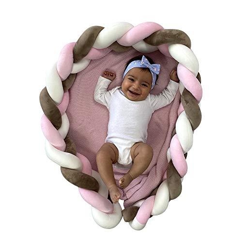Malihaz Bettschlange geflochten - besonders weich geflochtene Baby-Bettumrandung 200cm - Bettumrandung fürs Babybett (PINK)
