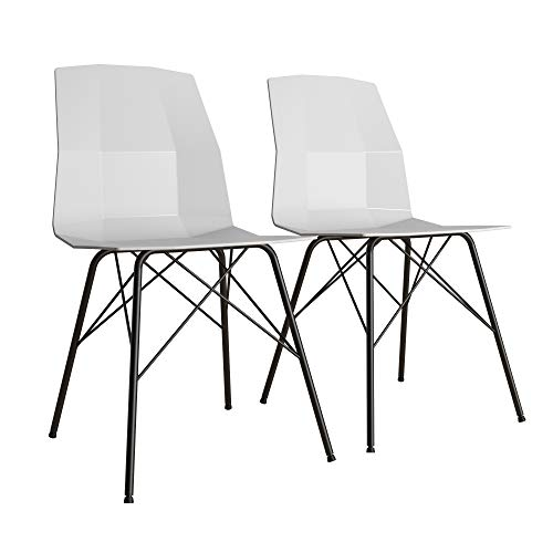 CosmoLiving by Cosmopolitan Riley Molded, Gray with Black Metal Base, Set of 2 Dining Chair