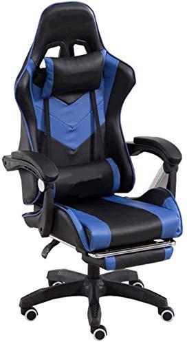 Silla de Oficina Silla Silla jugador del juego de ordenador del reposapiés Racing respaldo alto ergonómico Ejecutivo escritorio de oficina silla de apoyo for la cabeza de apoyo lumbar ( Color : Blue )