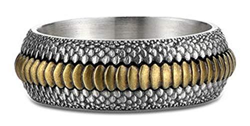 CHXISHOP Anillo de plata de ley S925 para hombre, diseño punk de escamas de dragón, joyería de plata 22#