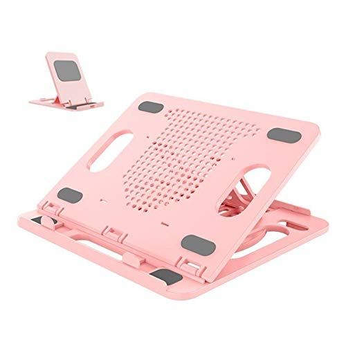 OCGDZ Portable Laptop Stand + Phone Stand For PC Computer Laptop Stand Foldable Notebook Stand (Color : Pink)