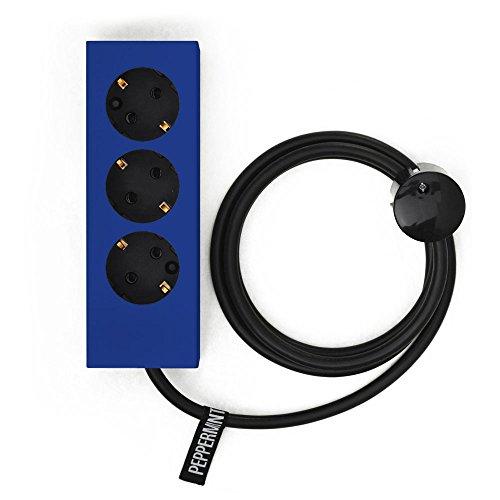 PLUG 3 Blau   3er MEHRFACH-STECKDOSEN-LEISTEN   schöne Design Steckdose   Steckerleiste mit lackierter Stahl-Verkleidung   Peppermint Products