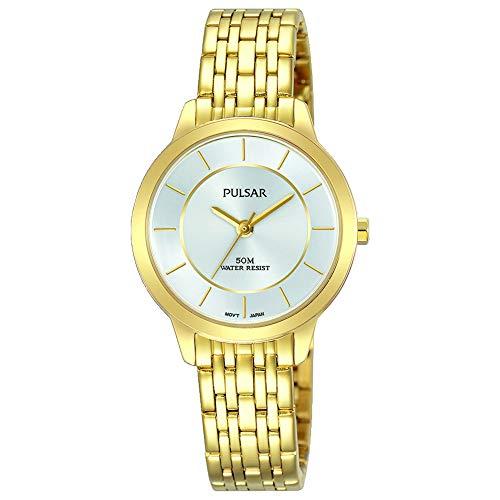 Pulsar Pulsera para mujer de acero inoxidable chapado en oro 50m de resistencia PH8370X1