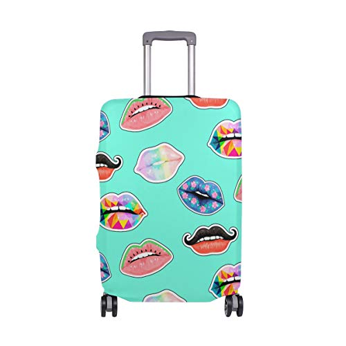 ALINLO Watercolor Colorful Sexy Lips Pattern Luggage Cover Baggage Suitcase Travel Protector Fit for 18-32 Inch