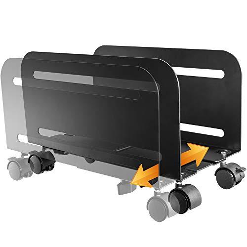 RICOO PC Computer-Rechner-Halterung Drehbar Schwenkbar Rollbar (RH-04) Gehäuse Mobil-Ständer mit Rollen CPU-Wagen Unter Schreibtisch, Schwarz