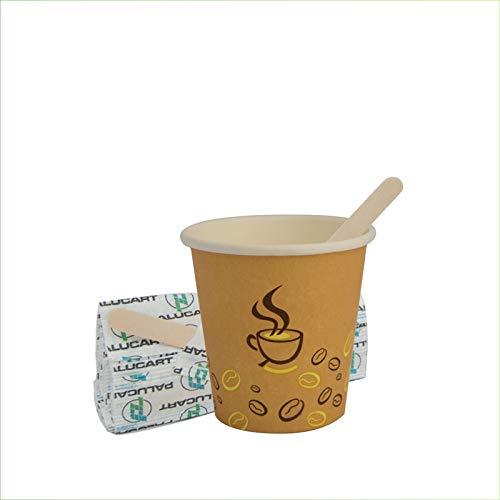 Palucart 500 Bicchieri in Carta per Caffe 90ml Bicchierini Colore Avana con Grafica (3 oz) + 500 Palette in Legno di Betulla biodegradabili cartoncino per Bevande Calde Cappuccino caffè